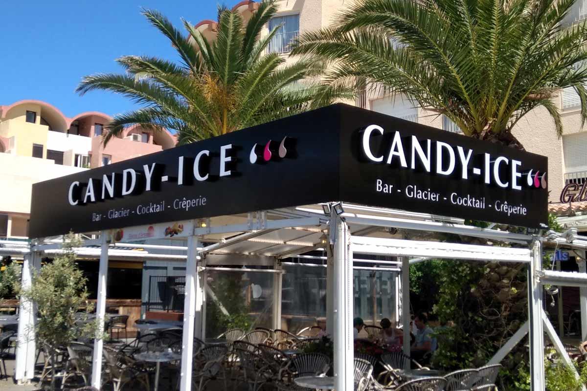 Plastimage - concepteur et fabriquant enseignes lettres boitiers à Narbonne & Occitanie - Candy Ice